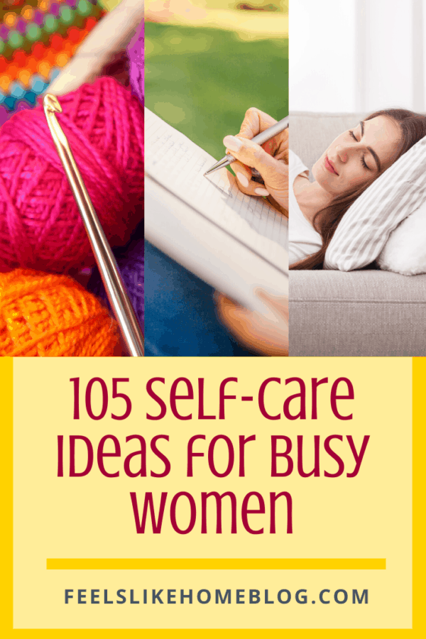 A collage of  self care ideas including napping, writing in a journal, and crocheting