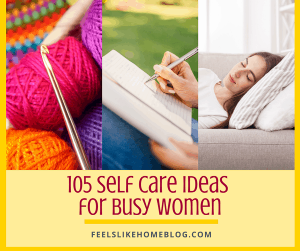 A collage of self care ideas with crochet, journal writing, and taking a nap