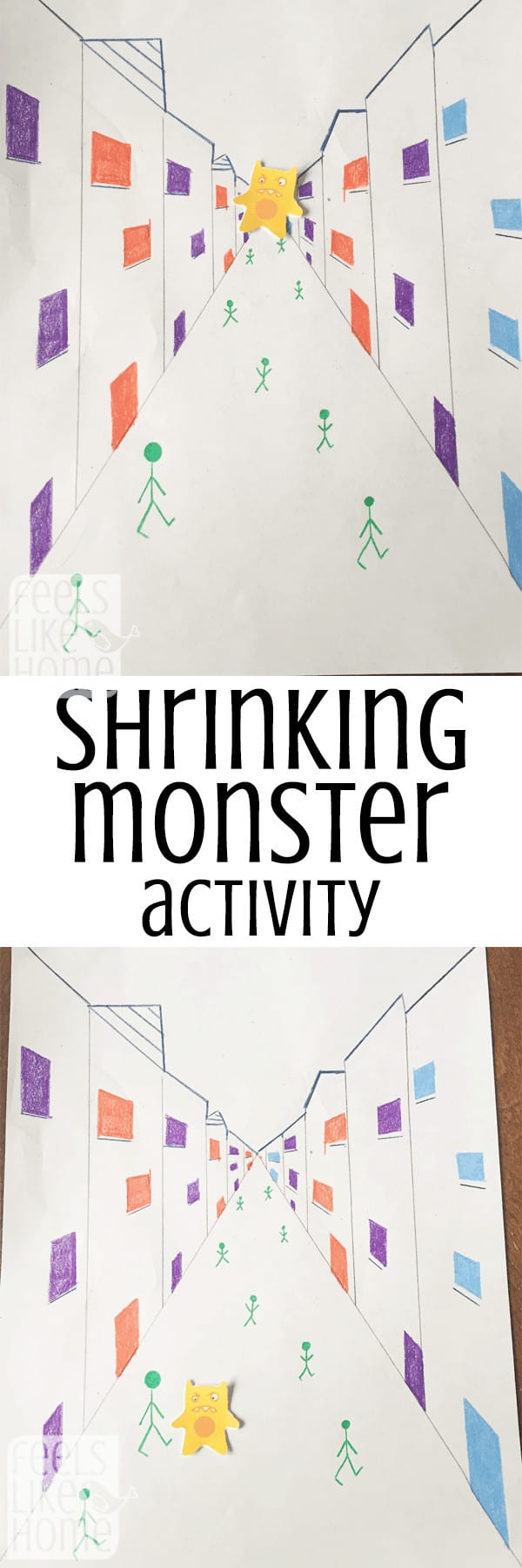 This science project for kids is super simple and easy, but the results are really neat. When you move the monster, it appears to shrink or grow depending on its surroundings. This would be great in a project on optical illusions!