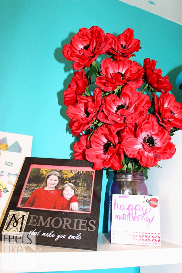 A vase of flowers on a shelf