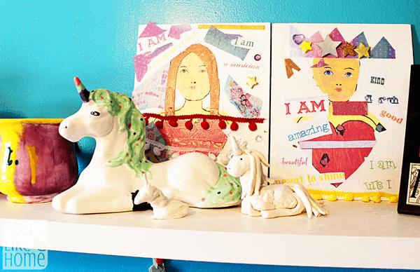 A shelf with a ceramic unicorn