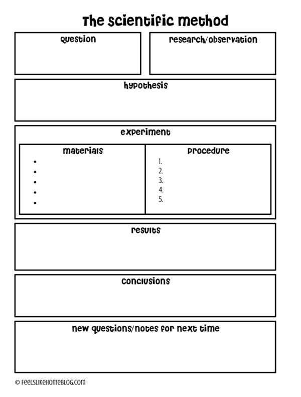 A scientific method worksheet