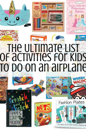 This is THE ULTIMATE list of activities for kids and teens (and even adults!) to do on an airplane during long flights! Airplane travel can be a little stressful, especially with children, but these activities and ideas will keep them busy and entertained for hours!