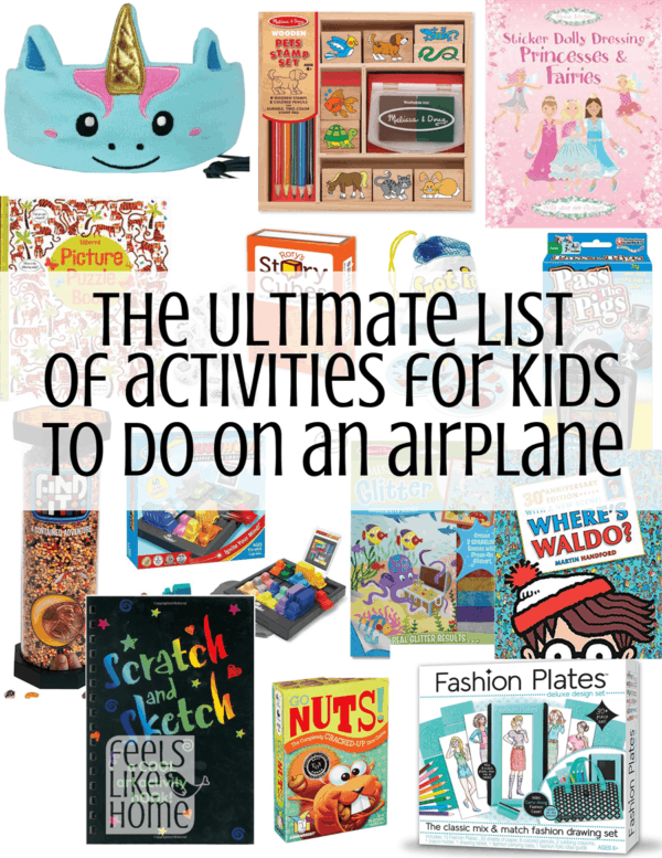A collage of activities for kids to do on airplanes