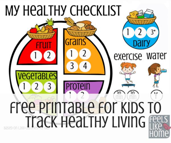 printable food chart for kids