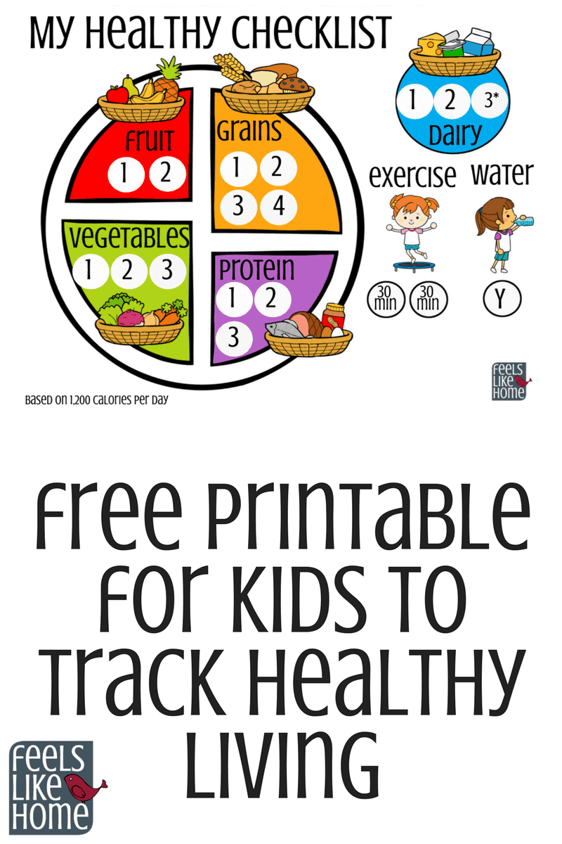 Printable For Kids To Track Healthy Living 1800 Calories