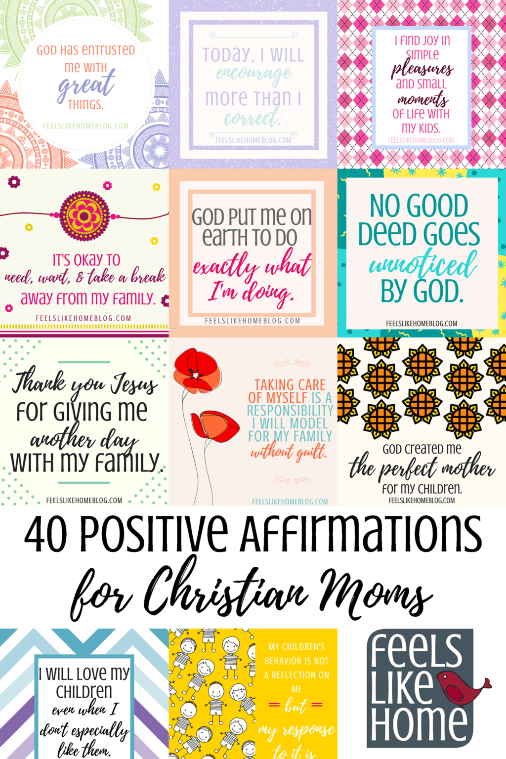 picture about Affirmation Cards Printable called 40 Absolutely sure Affirmations for Christian Mothers (with printable