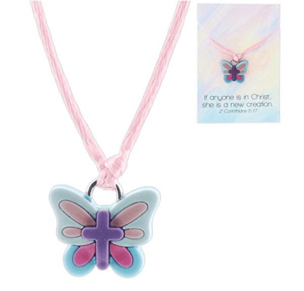 A close up of a butterfly necklace