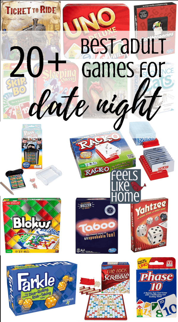 20+ best adult games for date night, but the whole family will enjoy these, even the kids! Tips and ideas for the 30+ best simple and easy family game night board, dice, and card games for kids and adults to play together. These games make great gifts to buy and are the perfect addition to any home's game basket. Great to play on Thanksgiving, Christmas, New Year's Eve, or any holiday. Games for older kids, tweens, teens, and adults to play together.