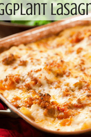 The best simple healthy eggplant lasagna recipe - This easy, vegetarian, low carb, gluten free veggie lasagna is meatless (but meat can be added if you want) and is perfect for a Whole30, paleo, or keto diet. It's made with ricotta and baked to bring all the flavors together. The recipe calls for eggplant, but you could substitute zucchini instead.