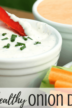 This healthy Greek yogurt onion dip is great for veggies, snacks, and chips. You're going to love it with dinners too! Vegetarian recipe.
