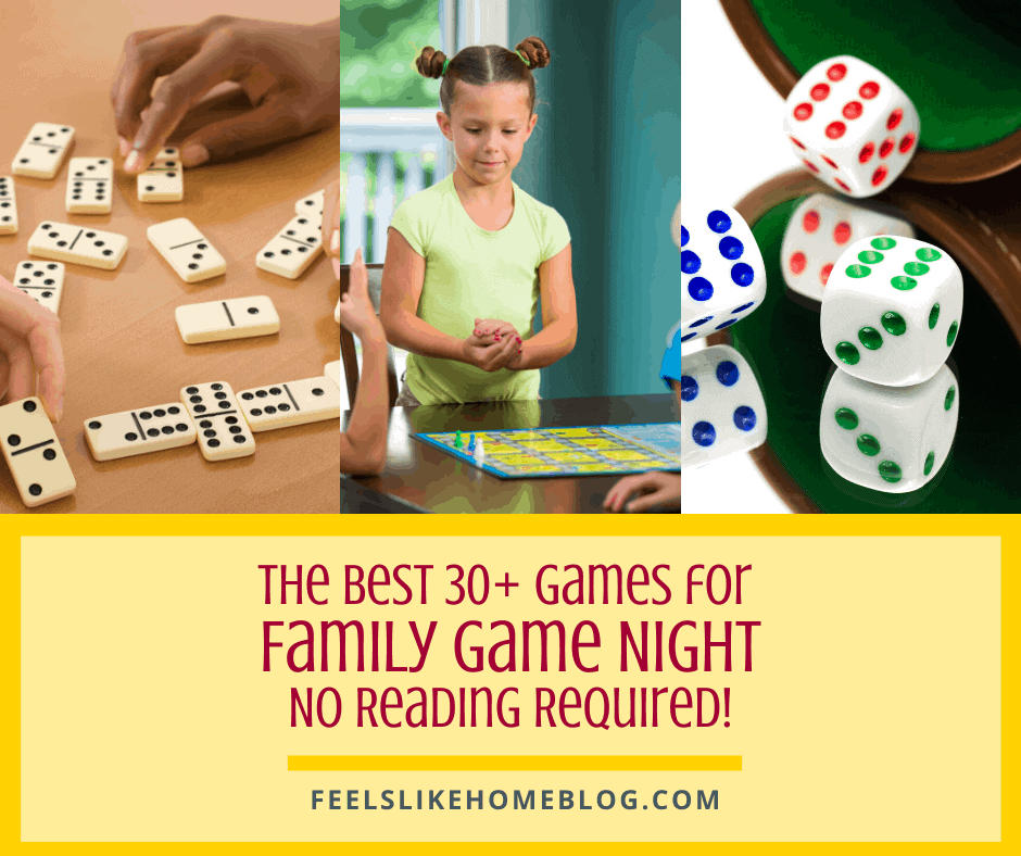 Tips and ideas for the 30+ best simple and easy family game night board, dice, and card games for kids and adults to play together, especially when you have a non-reader. These games make great gifts to buy and are the perfect addition to any home's game basket. Great to play on Thanksgiving, Christmas, New Year's Eve, or any holiday. Games for all ages to play together.