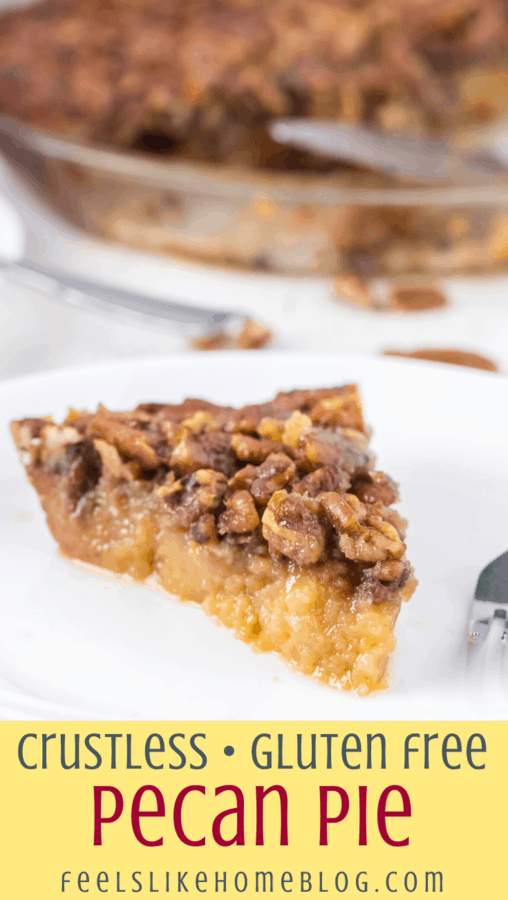 A close up of a slice of crustless pecan pie on a plate