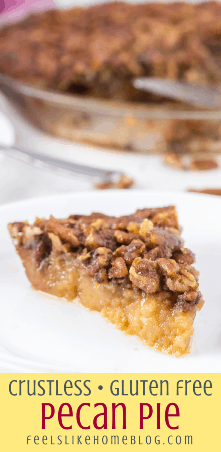 crustless pecan pie slice