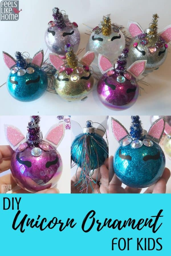 A collage of unicorn Christmas tree ornaments