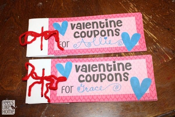 A close up of Valentines coupon books for kids