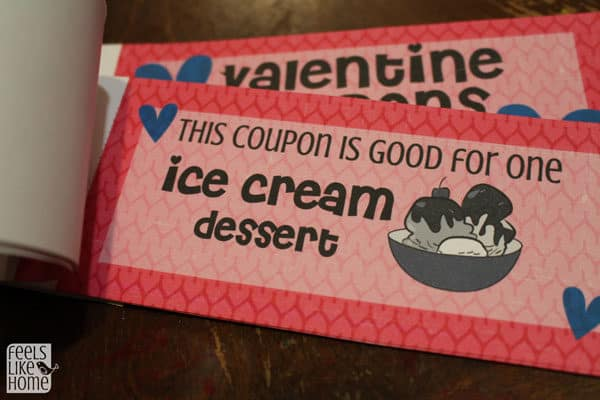A close up of a Valentine coupons for kids