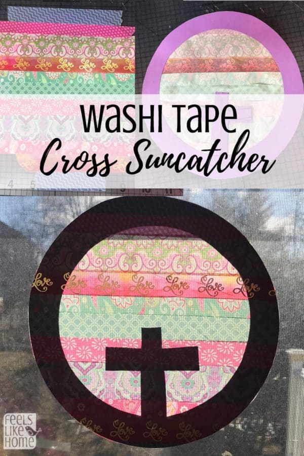 This simple and easy Easter cross suncatcher craft uses washi tape and cardstock. It couldn't be easier! Perfect for toddlers, preschoolers, kids, teens, or adults because it makes a beautiful craft to hang in the window. Sun catchers perfect for spring or any time of year.