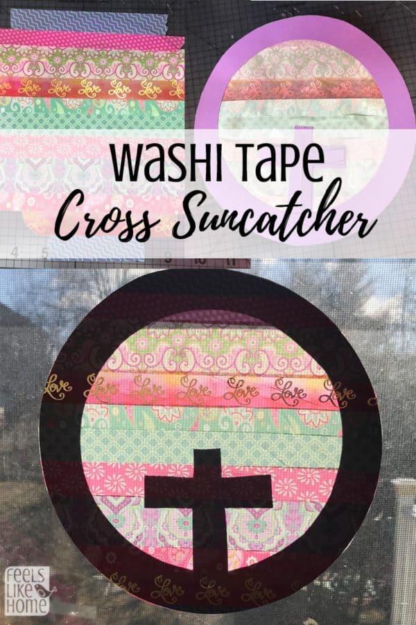 A close up of a washi tape sun catcher stuck to a window