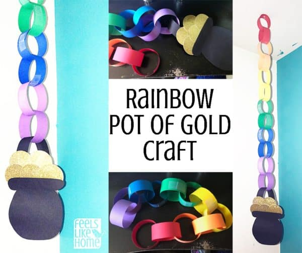 Rainbow paper chain craft for St. Patrick's Day - This simple craft for kids has a sparkly pot of gold at the end of the bright, colorful rainbow! Great for toddlers, preschoolers, or elementary kids, it is simple and easy to make in the classroom or at home. Great decoration for children in church or school party.