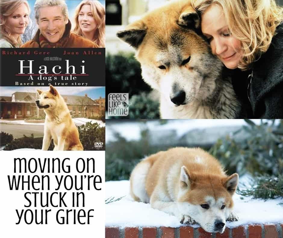 Moving on when you're stuck in grief - Grieving is so hard and sad, but it is so true that the only way through it is through it. Words and truths from my life when I lost my mom and watched a movie called Hachi about a dog who waited his entire life for his owner to come home. The feelings of the heart are real, and saying I miss you is natural, but letting go is beautiful and natural and essential.
