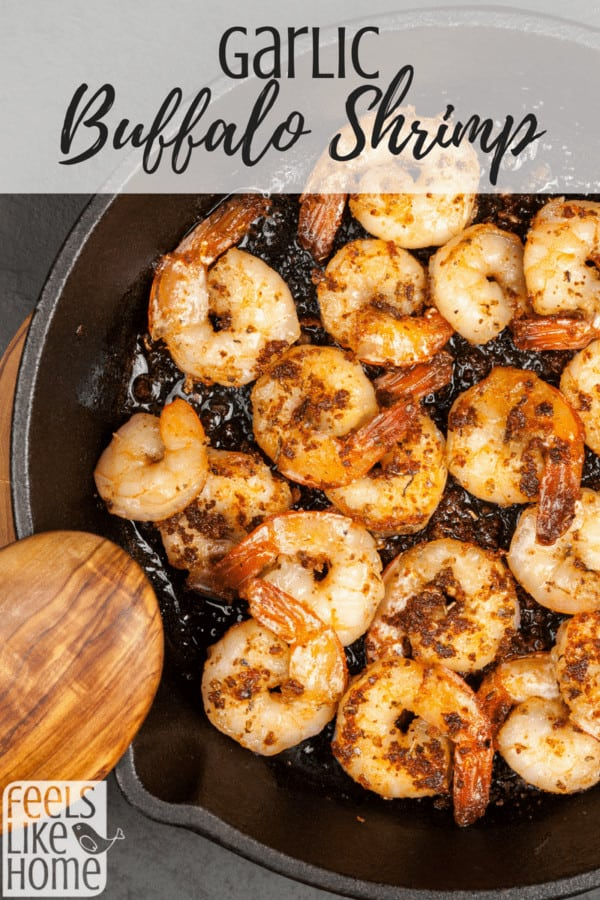 How to make the best garlic buffalo shrimp recipe - This healthy and simple recipe is easy to saute in a stir fry skillet or pan on the stove. Adjust the amount of hot sauce to your own spicy preference. Keto, paleo, and low carb.