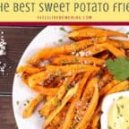 A pile of sweet potato fries on a plate