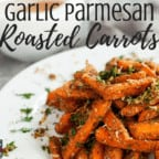 Garlic Parmesan Roasted Sliced Carrots - This is the best roasted carrots recipe you will find! It's healthy, simple, quick, and easy because they're baked in the oven. Includes rosemary and other herbs. Savory, low carb, and paleo.