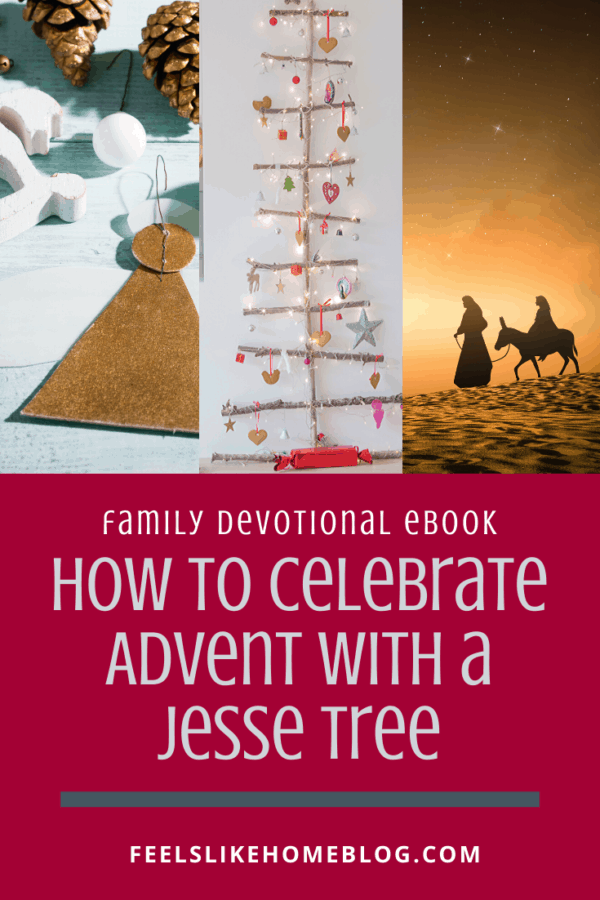 How to celebrate Advent with a Jesse Tree - This free ebook includes printable ornaments and family devotions appropriate for preschoolers, older kids, and even teens and adults. The DIY devotional includes ideas for making the tree, symbols to use, and even where to find patterns to make felt ornaments. Each day includes a verse, story, reading, song, and theme.