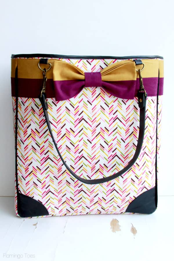 homemade fabric and leather tote bag