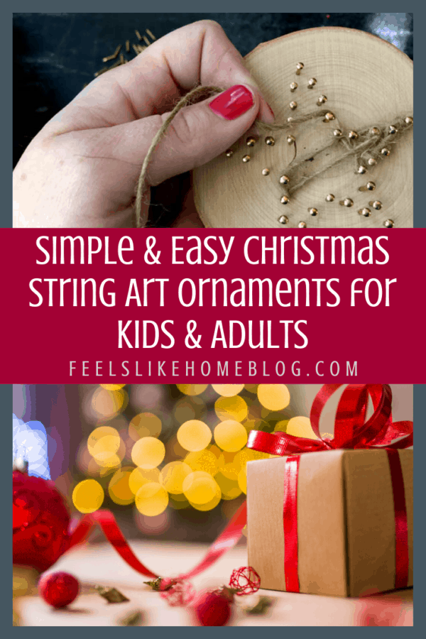 Simple & easy Christmas string art for beginners - These pretty designs are made on wood slices using embroidery floss or string and make a perfectly sized Christmas ornament for the Xmas tree. Includes free printable templates and patterns for a star, angel, light, tree, snowflake, and more. Great for children, tweens, teens, and adults