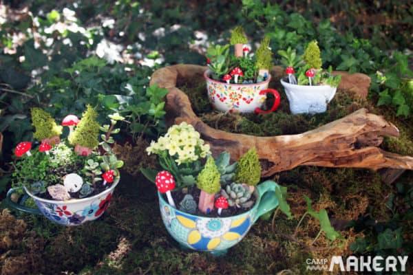 homemade tea cup garden