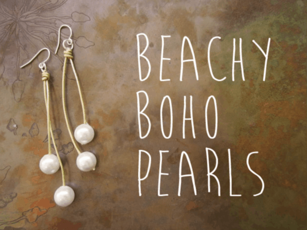 DIY pearl and leather earrings