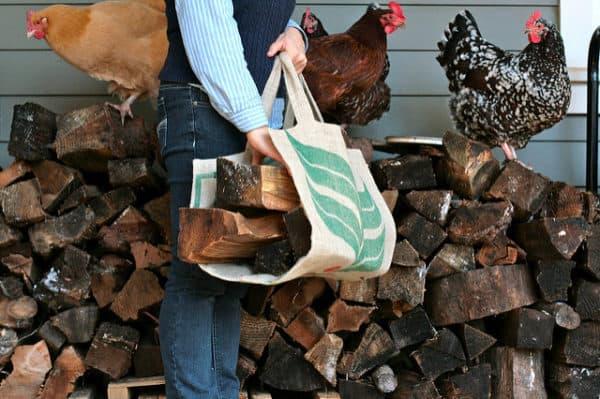 DIY burlap firewood carrier