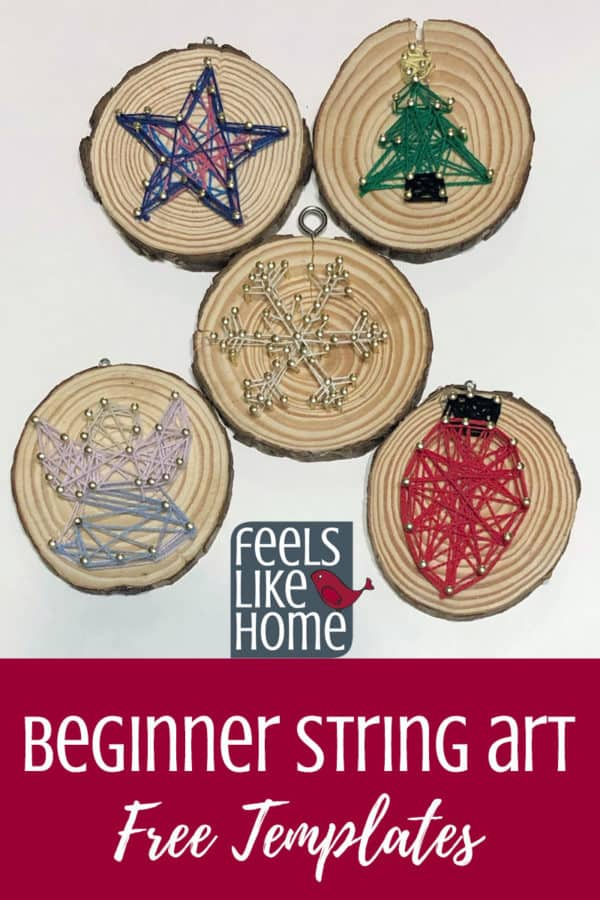 Simple & easy Christmas string art for beginners - These pretty designs are made on wood slices using embroidery floss or string and make a perfectly sized Christmas ornament for the Xmas tree. Includes free printable templates and patterns for a star, angel, light, tree, snowflake, and more. Great for children, tweens, teens, and adults.