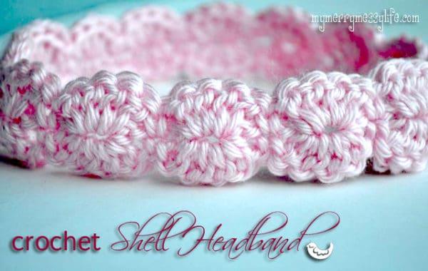 a handmade crocheted shell headband