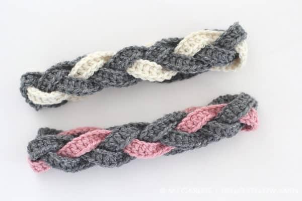 a crocheted braided headband