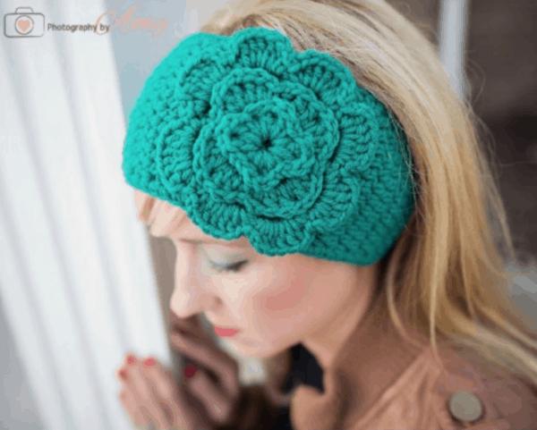 a handmade crocheted flower headband