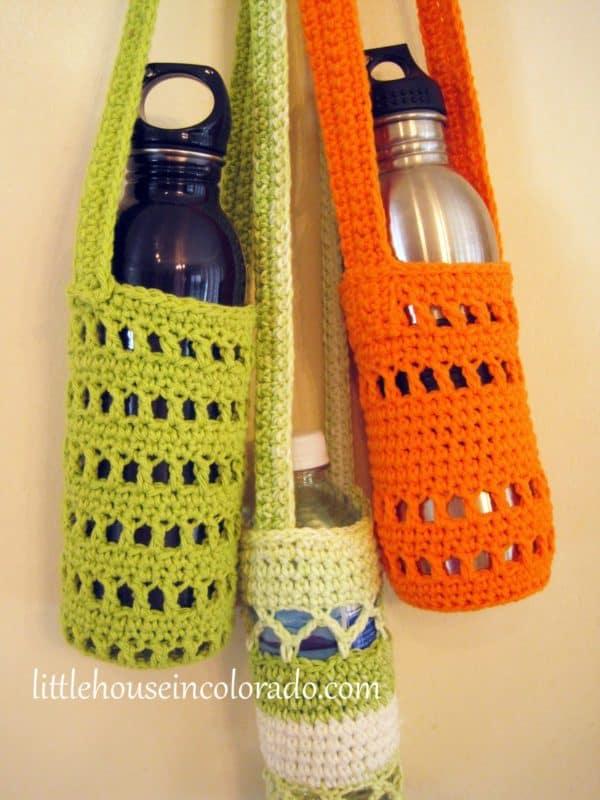 crocheted water bottle holders