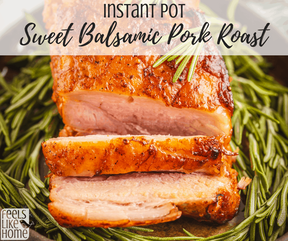 How to make a pork roast in an electric pressure cooker - This sweet balsamic pork loin or shoulder in the Instant Pot is so simple and easy but so delicious! It is good for Whole 30, low carb, and keto if you substitute the sugar for Splenda or stevia. Can be made boneless or with the bone. Balsamic vinegar makes perfect gravy.