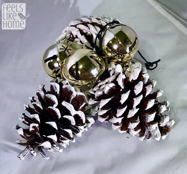 Snowy Pine Cone Christmas Ornament Craft With Jingle Bells