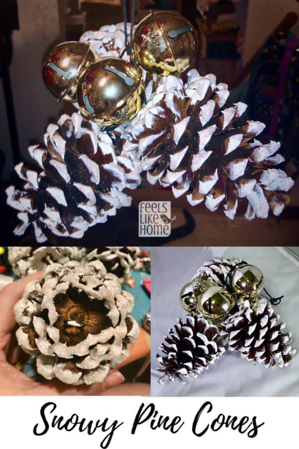 Easy & cute DIY pine cone crafts for kids - This hanging craft is so simple even preschoolers can make it! Makes a great ornament for the Christmas tree. These projects work well with big or small pine cones and make great Xmas gifts or package decorations. Perfect for children in kindergarten or any age.