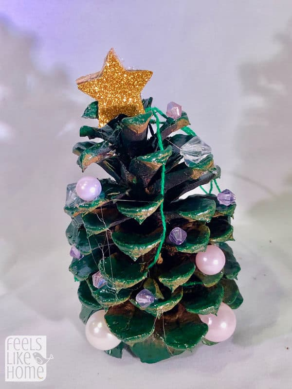 Easy Pine Cone Christmas Tree Ornament Craft For Kids