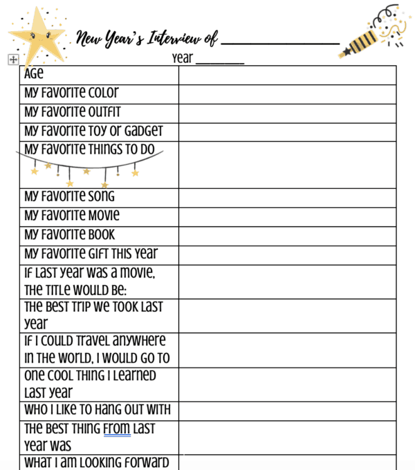 New Years interview for Kids - This great free printable is perfect for children, teens, adults, and even whole families. Also great for birthdays or to put in a time capsule.