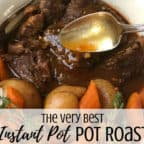 The best healthy Instant Pot pot roast - This simple and easy recipe is quick and great for weeknight meals or Sunday dinner with a one pot gravy. Gluten-free with potatoes and carrots.