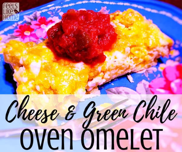 How to make a quick and easy oven omelette recipe with eggs, cheddar and cottage cheese and green chiles. Makes a simple low carb, keto, and paleo breakfast casserole without potatoes or bread. Perfect for busy families for mornings, breakfast, brunch, lunch, or even dinner. Could add bacon, baked ham, or sausage for a little extra oomph, but the vegetarian version is awesome on its own.