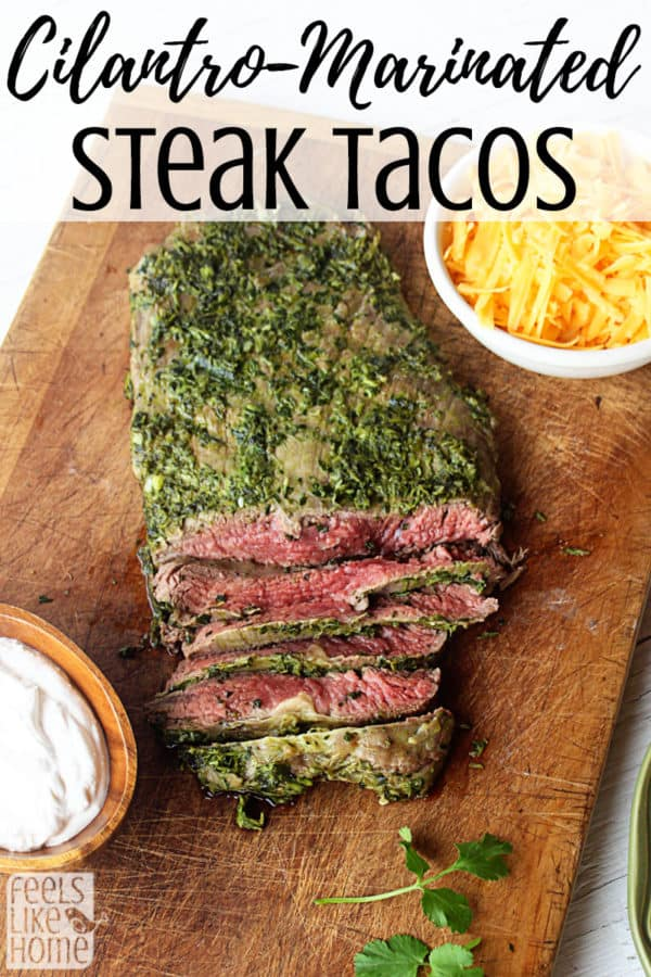 How to make the best cilantro marinade recipe for steak tacos! This healthy, low carb, keto & paleo recipe is also gluten free and makes the best carne asada. Can be used with corn or flour tortillas.