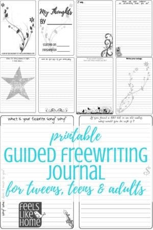 This printable 148-page guided freewriting journal can be used by women and tween and teen girls. The page templates contain quotes and prompts so you will never run out of things to write about. Can be pasted into a bullet journal or assembled with a binding. Simple, fun ideas for recording your thoughts on a variety of life subjects. Awesome inspiration for students, teachers, and homeschooling.
