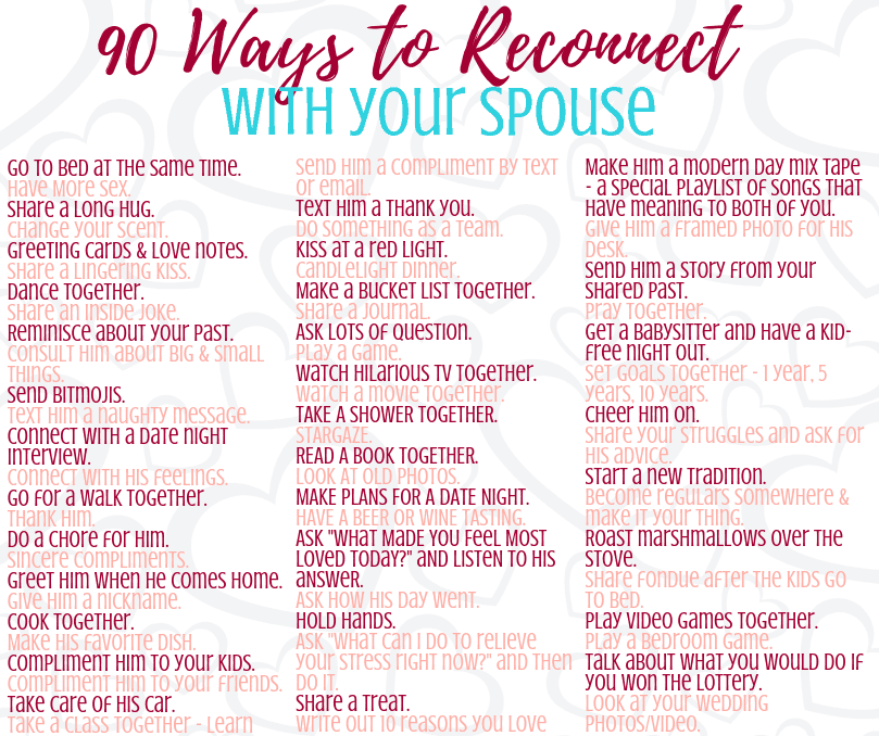 90 ways to reconnect with your spouse ( husband or wife ) and improve your marriage. Simple ideas and conversation starters for building a solid relationship after baby, with parenting duties, or during a busy season. Could even work after an affair or separation, to help rekindle the spark you once had. Lots of simple ideas and fun dates to enjoy your life together.