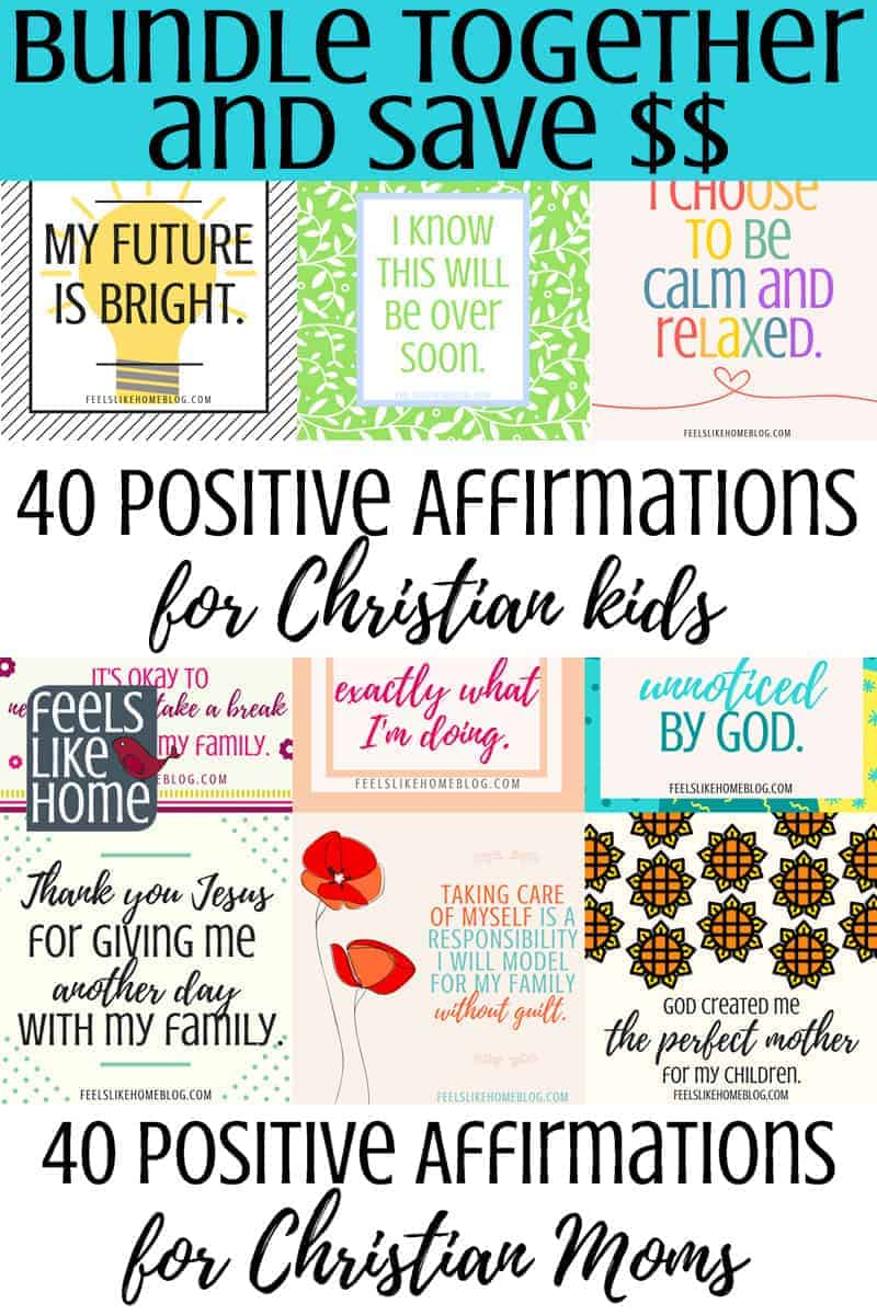 image relating to Printable Positive Affirmations identified as Beneficial Affirmations Package for Christian Mothers Young children - Help save 20%